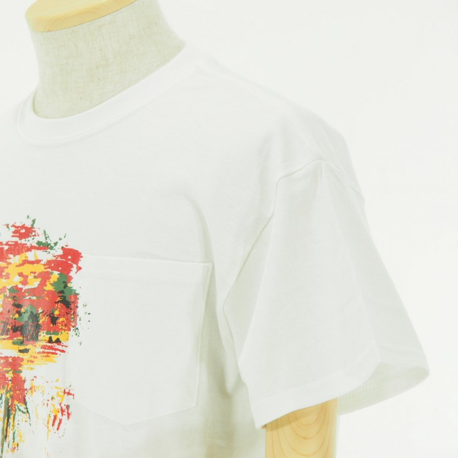 AiE エーアイイー - Printed S/S Pocket Tee - Flower - White