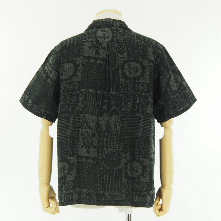 CORONA - French Caffe Shirt S/S - Resort Pattern 19 - Black / Charcoal