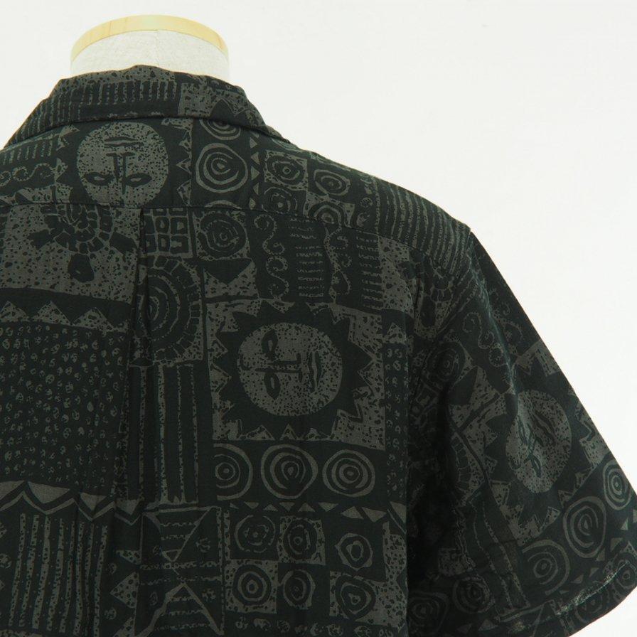 CORONA - French Caffe Shirt S/S - Resort Pattern 19 - Black / Charcoal