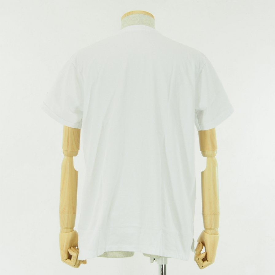EG WORKADAY - Printed Crossover Neck Pocket Tee - White