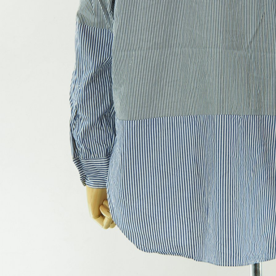 Engineered Garments - Spread Collar Shirt - St.Broadcloth - Navy / White - Narrow