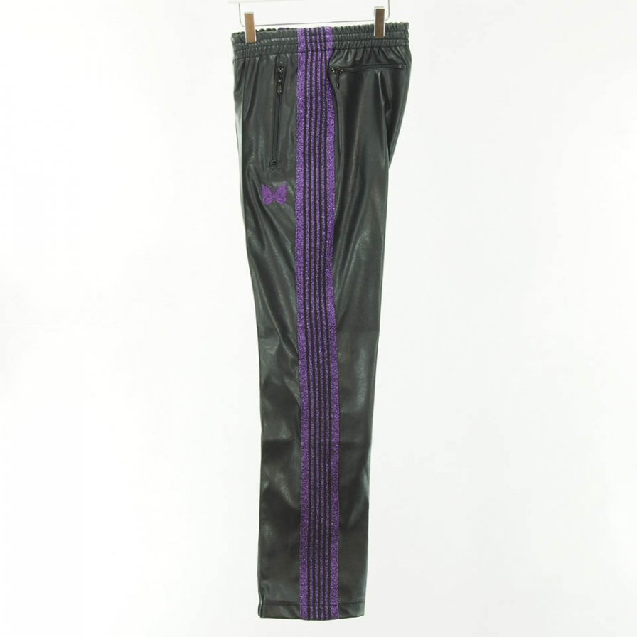 Needles - Narrow Track Pant - Poly Smooth - Synthetic Leather / Lame Tape - Black