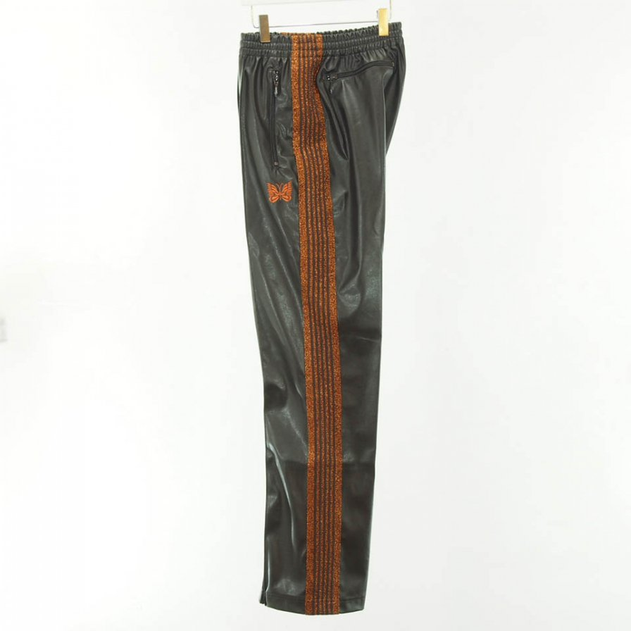 Needles - Narrow Track Pant - Poly Smooth - Synthetic Leather / Lame Tape - Brown