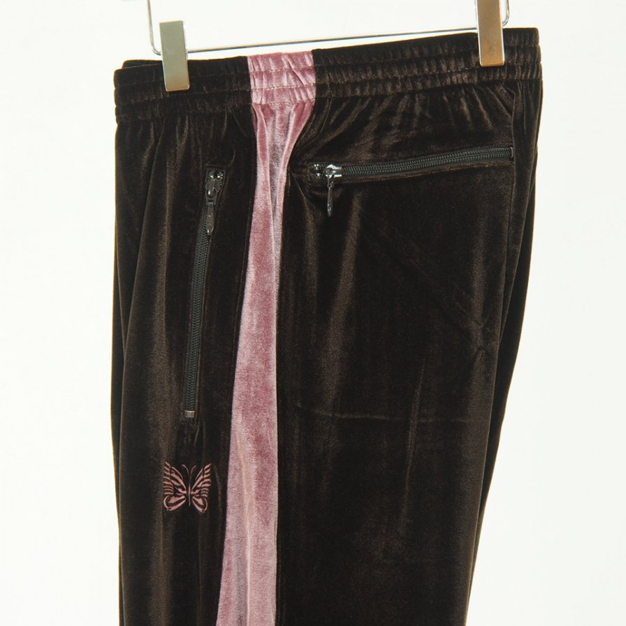 Needles - Papillon Emb. Side Line Track Pant - Pe/Pu Velour - Brown