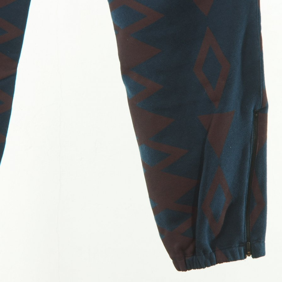 South2 West8 - Zipped Sweat Pant - Cotton Jersey - / S2W8 Native Pattarn - Navy
