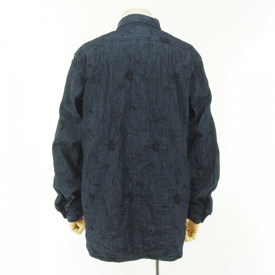 Engineered Garments - Work Shirt - Floral Embroidery Denim