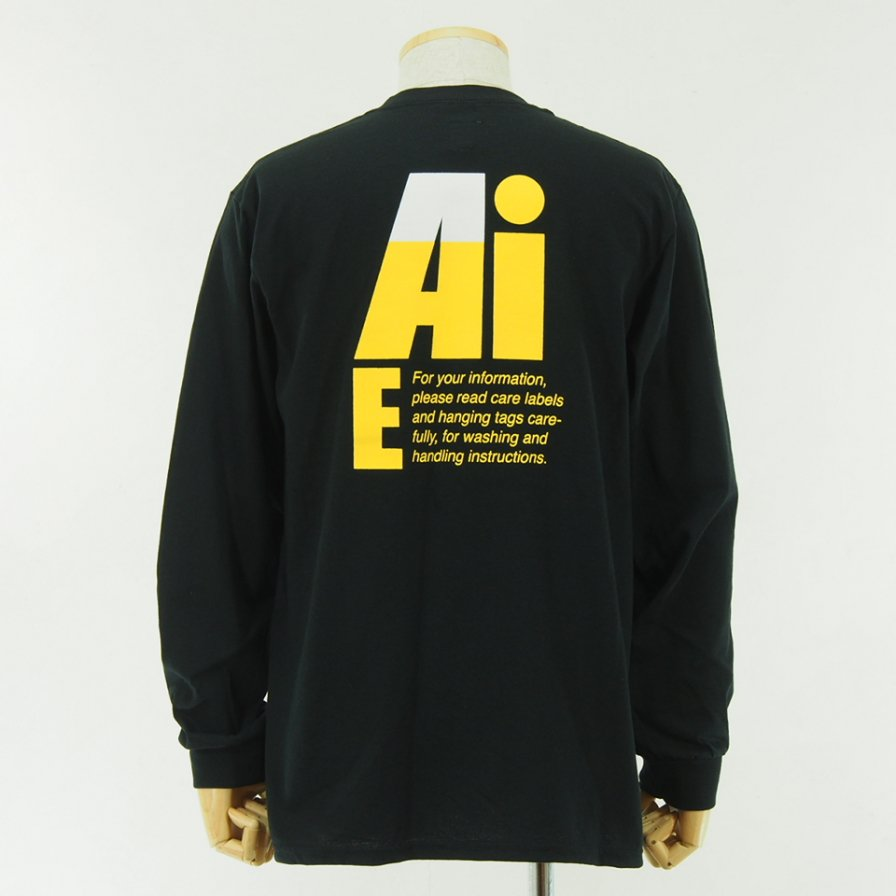 AiE - Printed L/S Pocket Tee - Big AiE Logo - Black