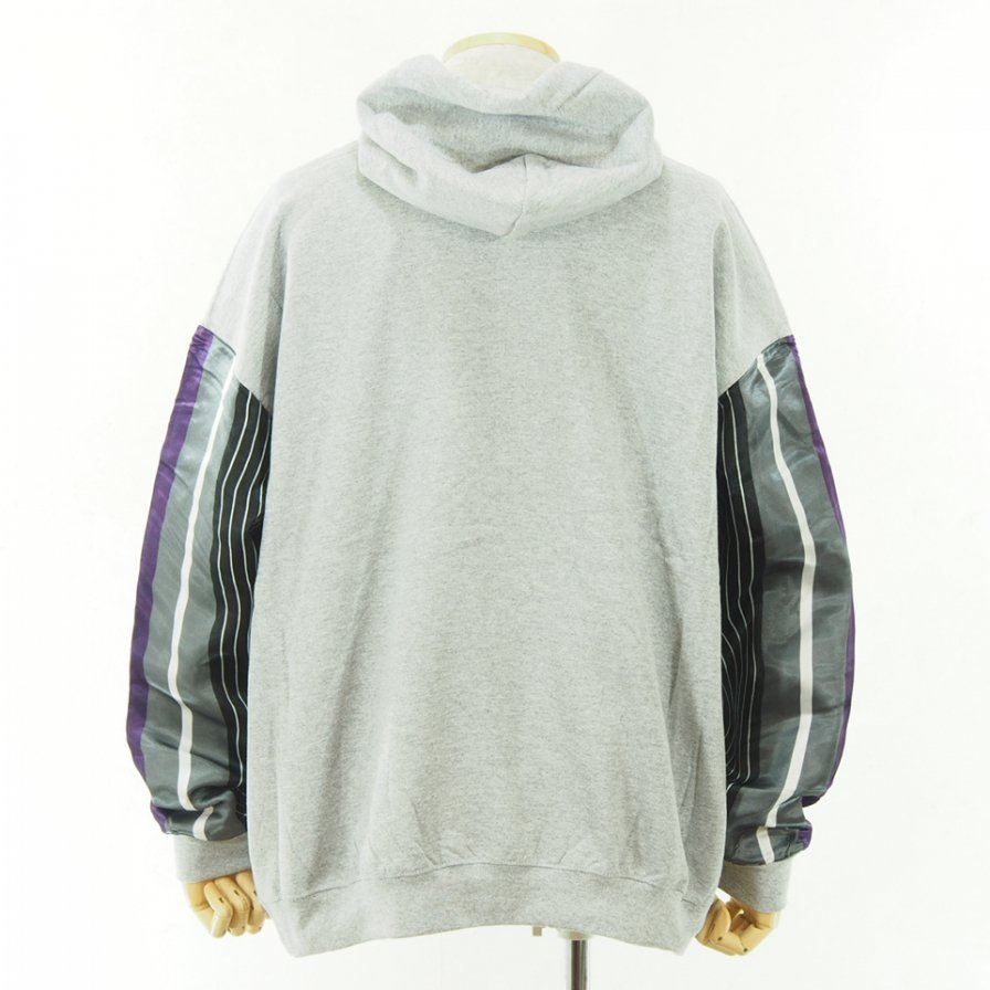 NOMA t.d. - N Stripe Sleeve Parka - Grey / Grey×Purple
