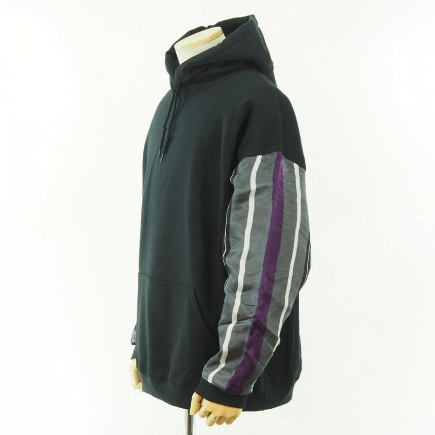 NOMA t.d. - N Stripe Sleeve Parka - Black / Grey×Purple