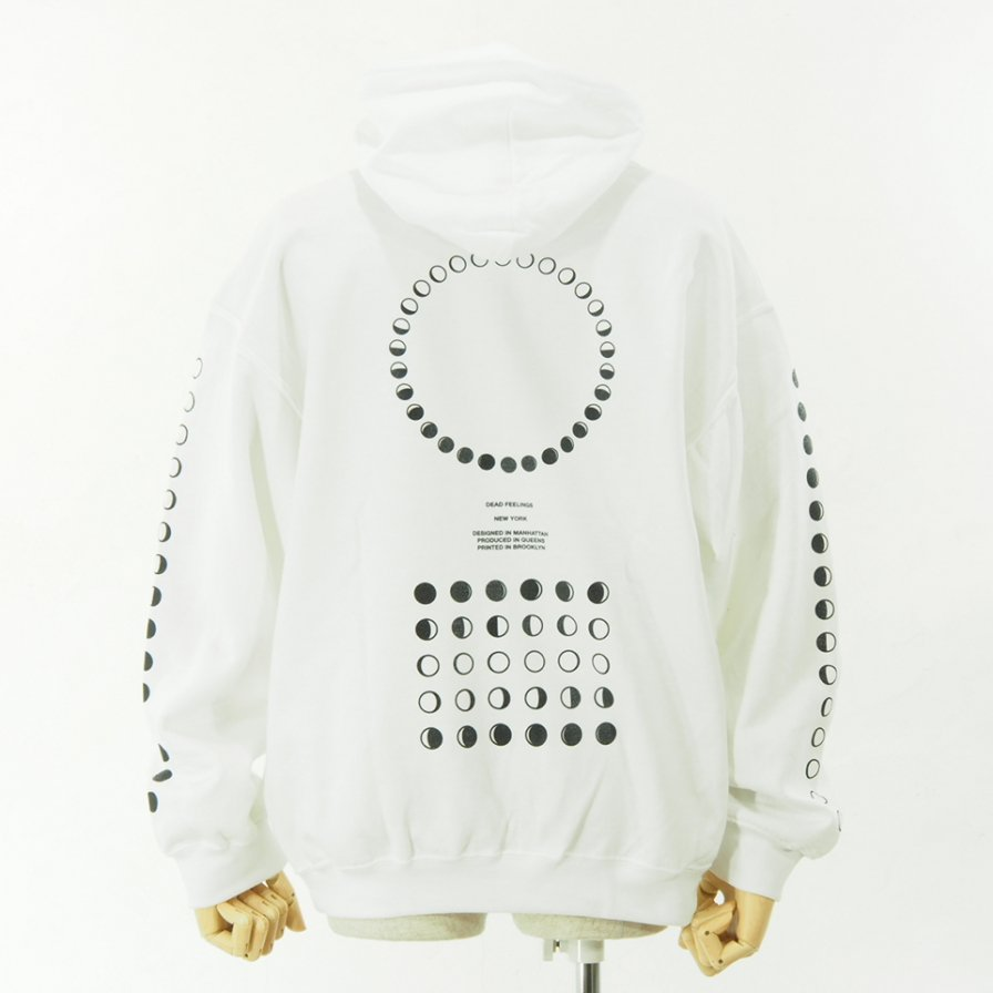 Dead Feelings - Printed Hoody - Moon Fhase - White