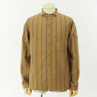 gorouta - Short Round Coller Shirt - Brown Stripe