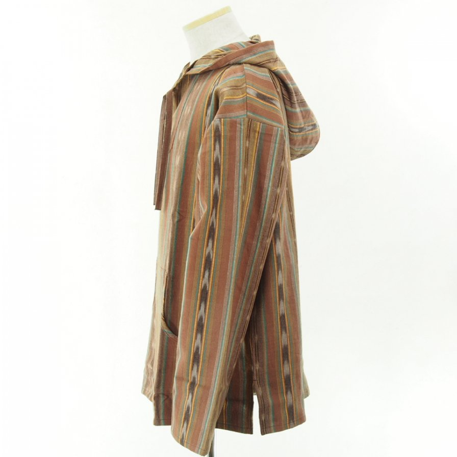 South2 West8 - Mexican Parka - Cotton Cloth / Ikat Pattern - Brown