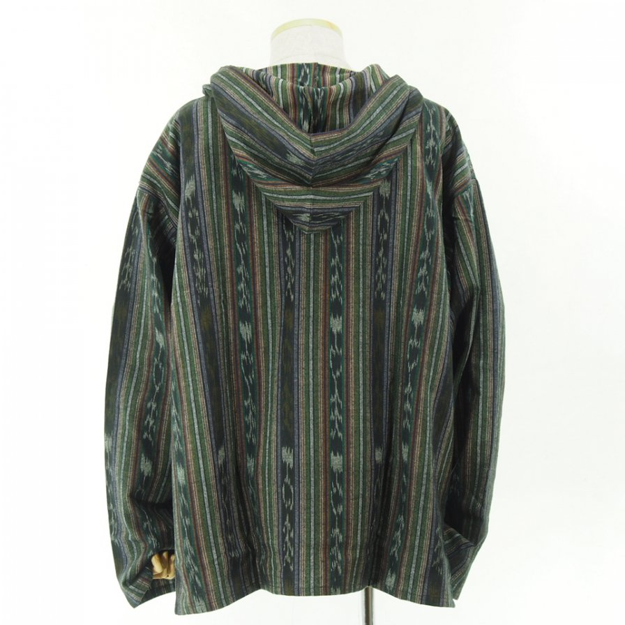 South2 West8 - Mexican Parka - Cotton Cloth / Ikat Pattern - Green