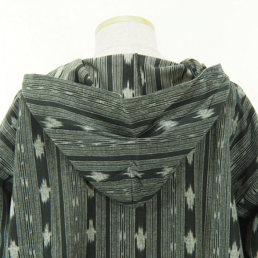 South2 West8 - Mexican Parka - Cotton Cloth / Ikat Pattern - Black