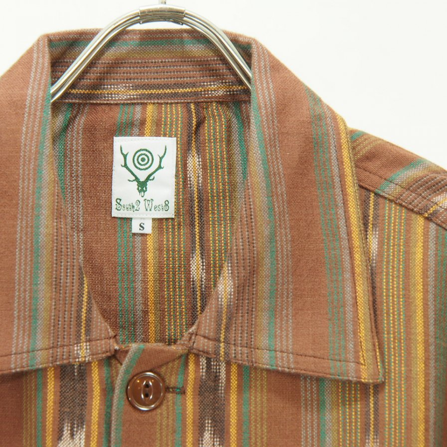 South2 West8 - Smokey Shirt - Cotton Cloth / Ikat Pattern - Brown