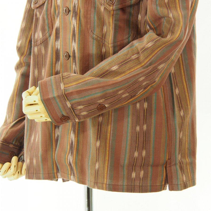 South2 West8 - Smokey Shirt - Cotton Cloth / Ikat Pattern - Brown
