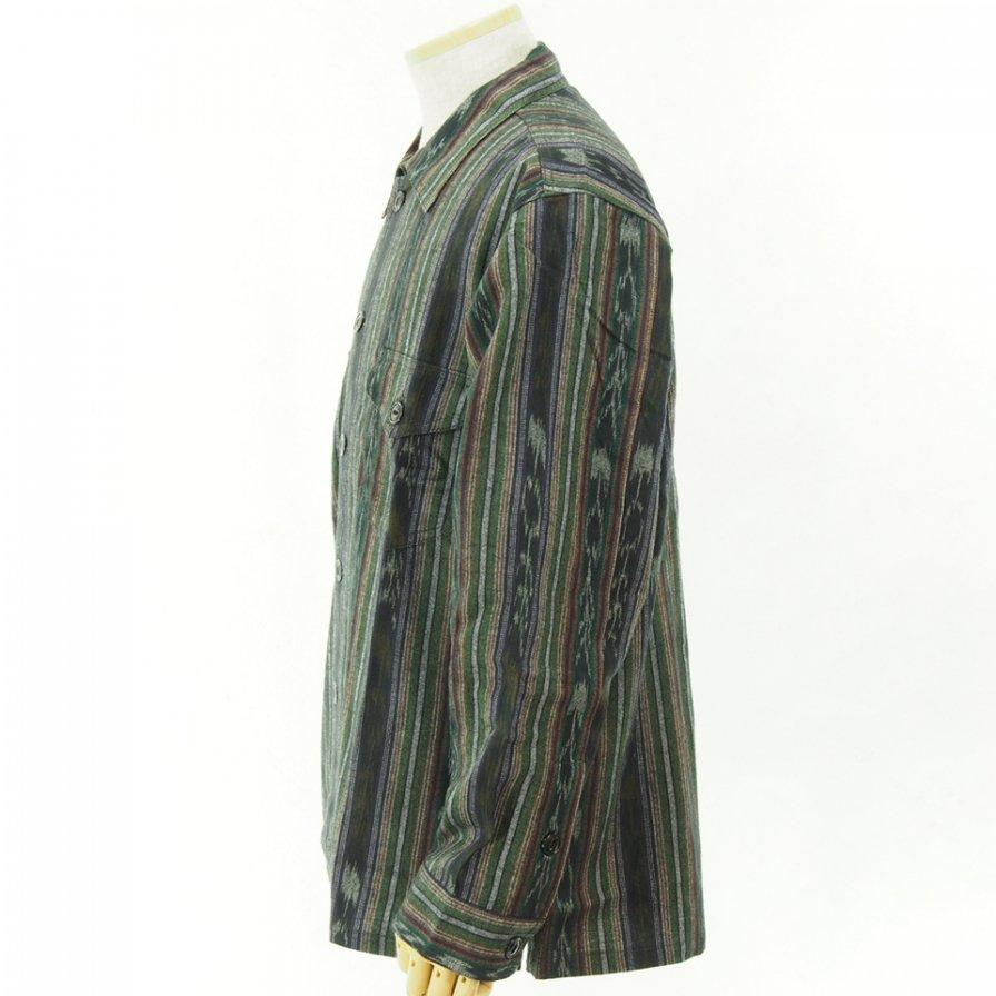 South2 West8 - Smokey Shirt - Cotton Cloth / Ikat Pattern - Green