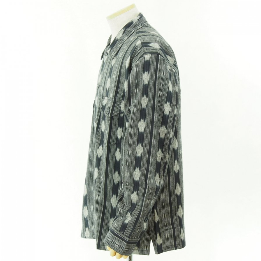 South2 West8 - Smokey Shirt - Cotton Cloth / Ikat Pattern - Black