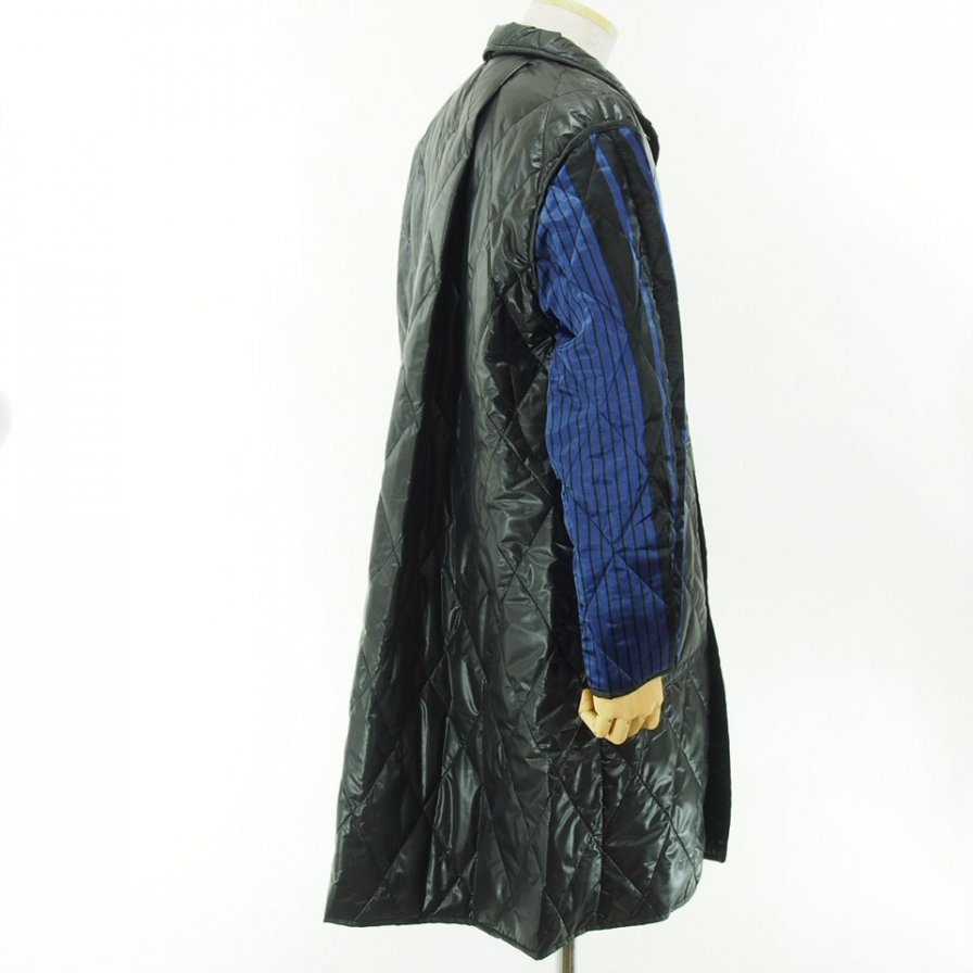 NOMA t.d. - Quilt Stitch Reversible Over Coat - Black / Navy×Black