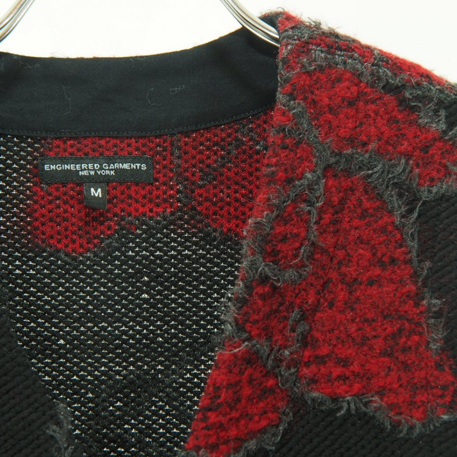 Engineered Garments - Knit Vest - Floral Knit Jacquard - Black / Red