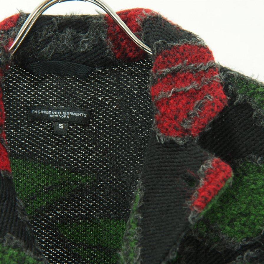 Engineered Garments - Knit Jacket - Floral Knit Jacquard - Black / Red