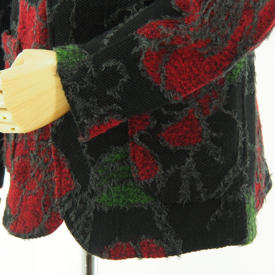 Engineered Garments - Knit Jacket - Floral Knit Jacquard - Black / Red