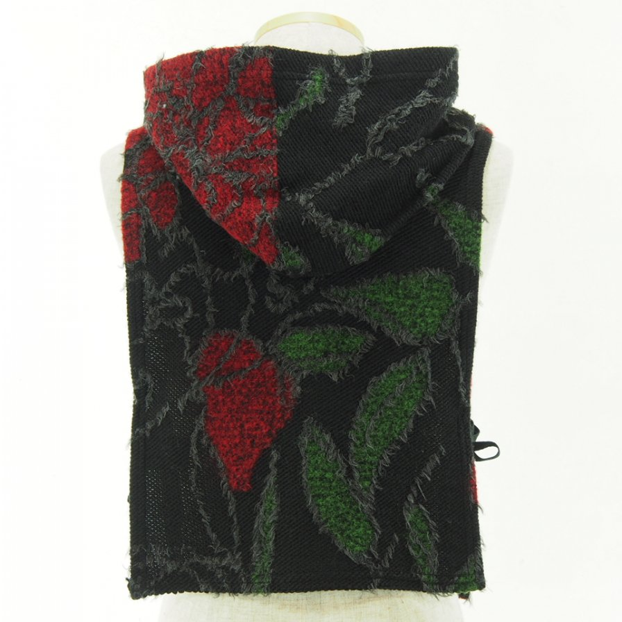 Engineered Garments - Hooded Interliner - Floral Knit Jacquard - Black / Red