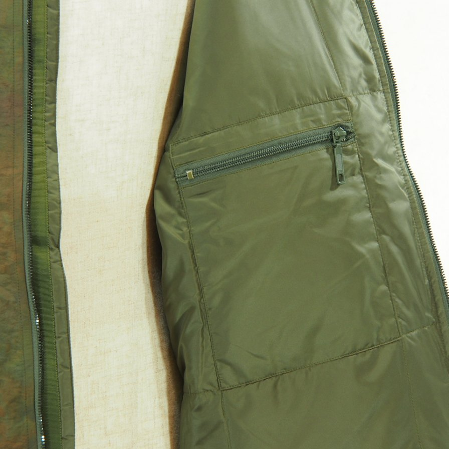 Needles - Stan Collar Down Sur Coat - Nylon Tussore - Uneven Dye - Olive