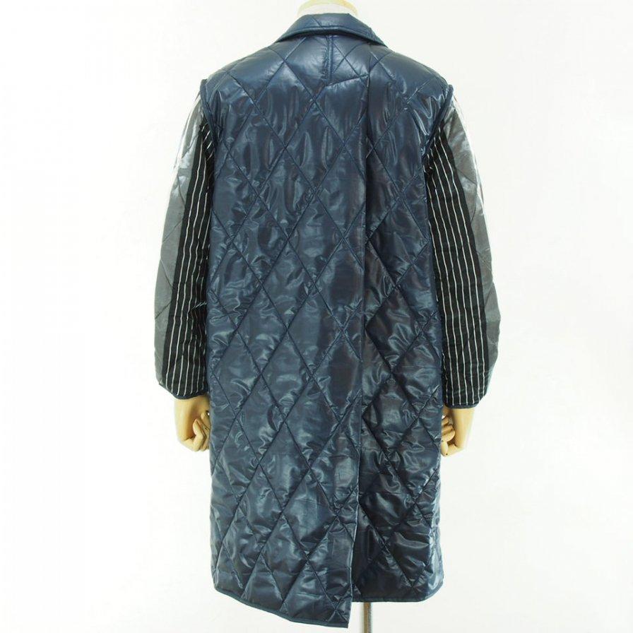 NOMA t.d. - Quilt Stitch Reversible Over Coat - Navy / Grey×Purple