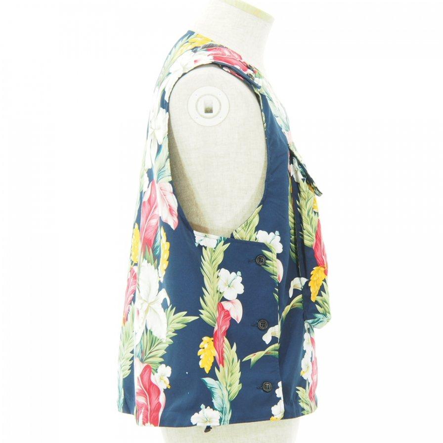 Engineered Garments - Cover Vest - Hawaiian Floral Microfiber - Navy