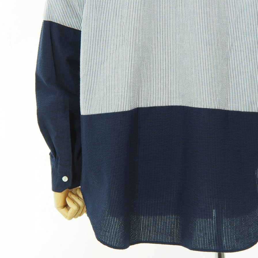 Engineered Garments - Spread Collar Shirt - CP Seersucker St. - Blue / White