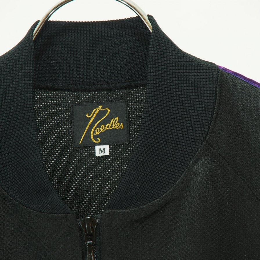 Needles - Side Line Rib Collar Jacket - Bright Poly Jersey - Black / Purple