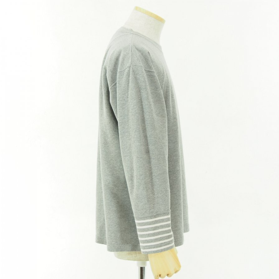ts(s) ティーエスエス - Solid / Stripe Basque Cotton Jersey - Grey