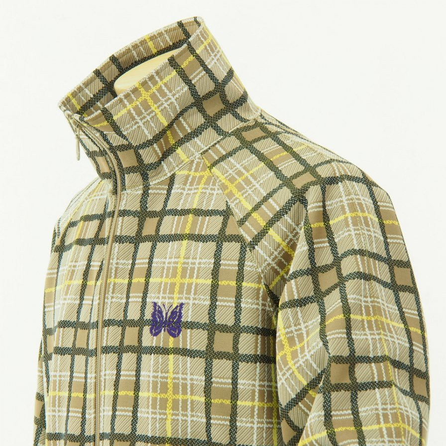 Needles - Track Jacket - Poly Jacquard - Khaki Plaid