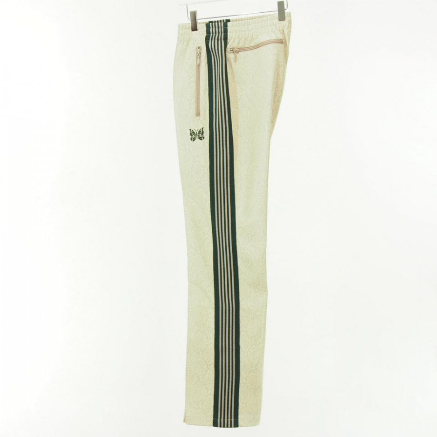 Needles - Narrow Track Pant - Synthetic Leather / Python - Beige
