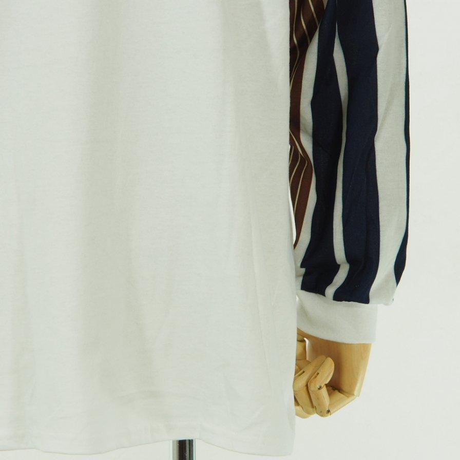 NOMA t.d. - Stripe Sleeve L/S Tee - White / Brown N Stripe