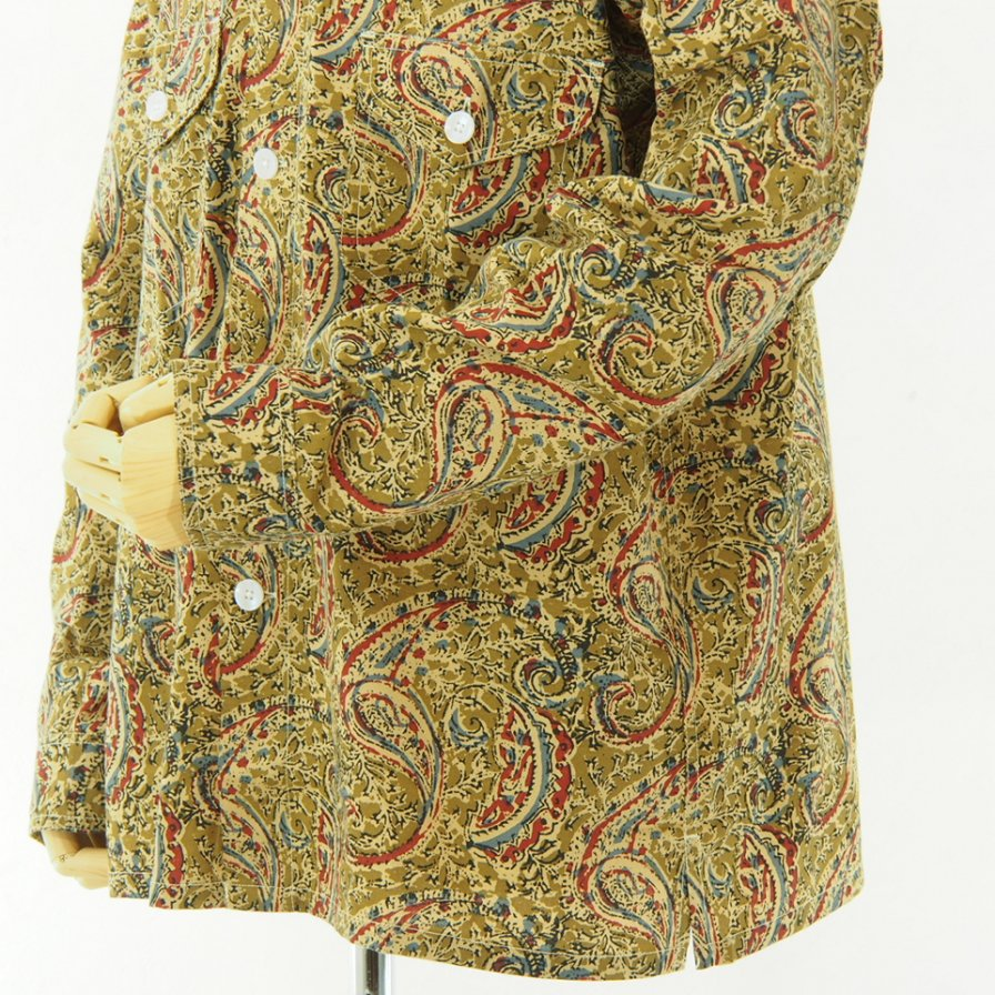 South2 West8 - Smokey Shirt - Printed Flannel / Paisley - Olive
