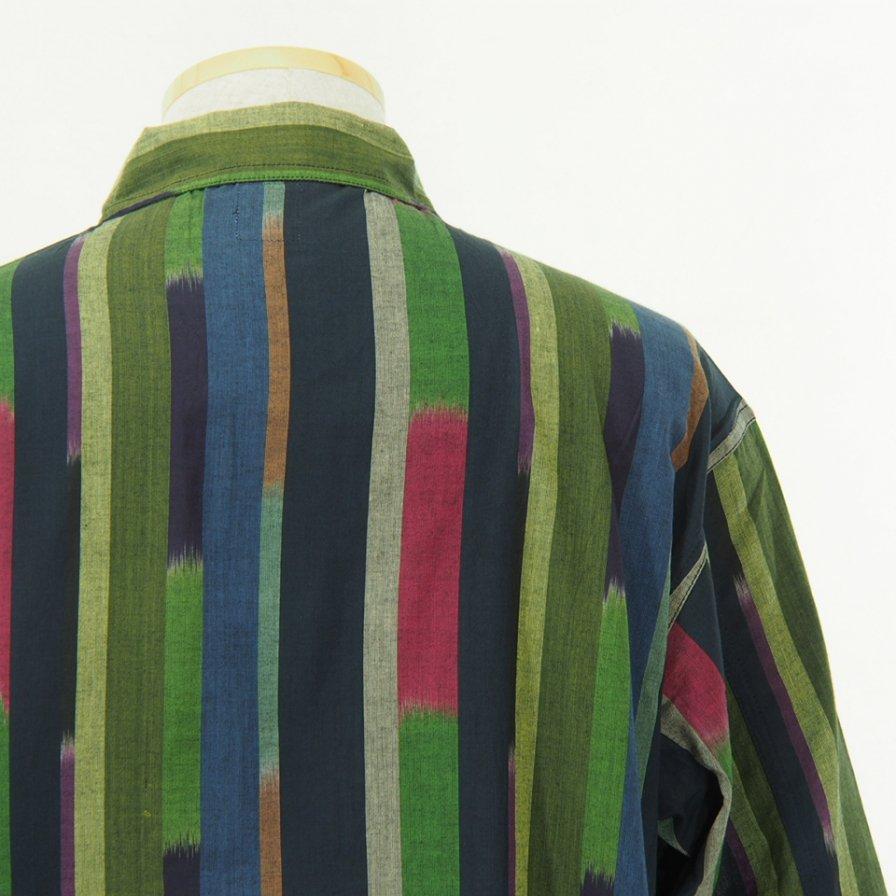 South2 West8 - Smokey Shirt - Cotton Cloth / Ikat Pattern - Navy/Red/Green