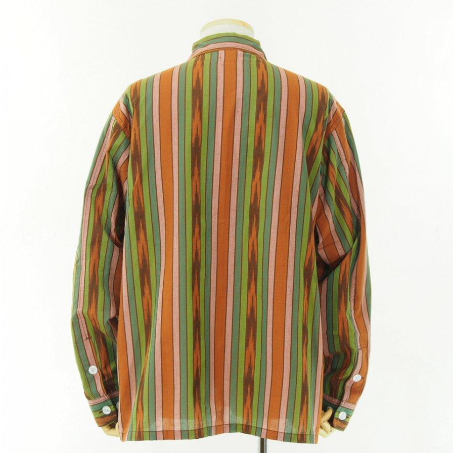 South2 West8 - Smokey Shirt - Cotton Cloth / Ikat Pattern - Brown/Green/Pink