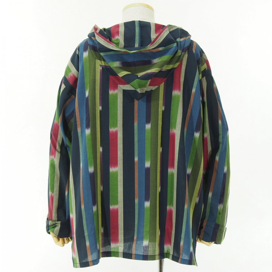 South2 West8 - Mexican Parka - Cotton Cloth / Ikat Pattern - Navy/Red/Green