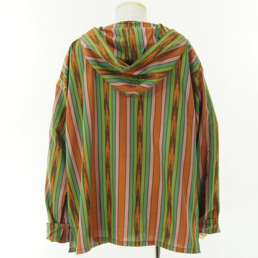 South2 West8 - Mexican Parka - Cotton Cloth / Ikat Pattern - Brown/Green/Pink