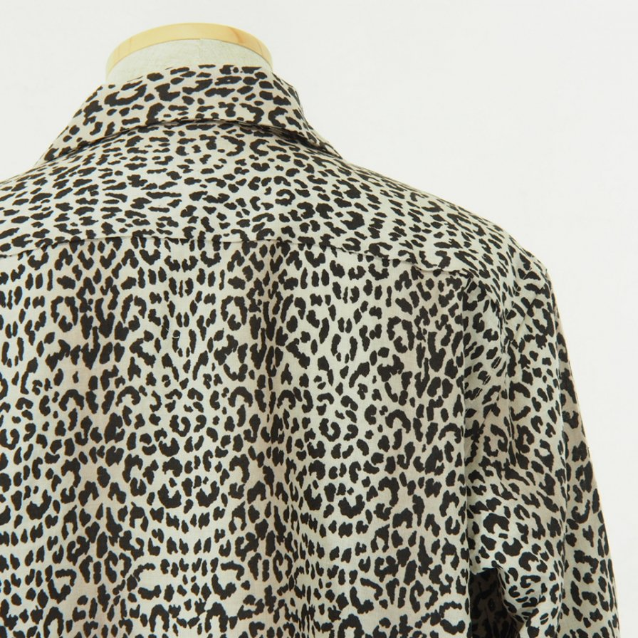 Needles - Cut Off Bottom Classic Shirt - Linen Cloth - Leopard Print - Off White