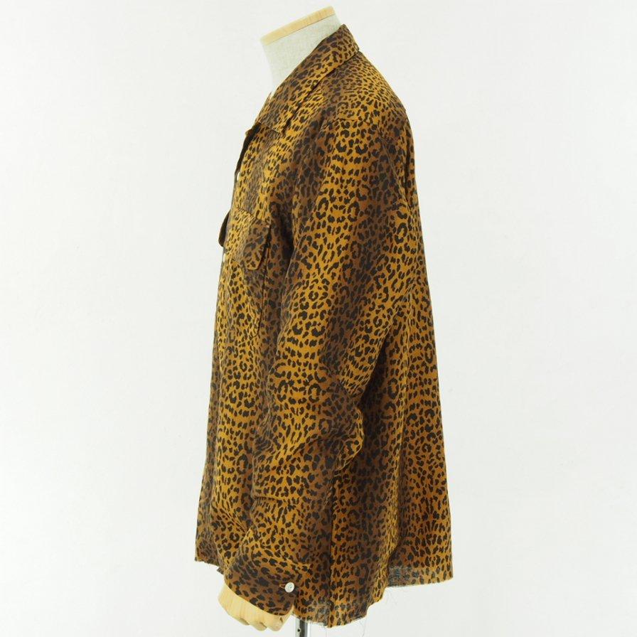 Needles - Cut Off Bottom Classic Shirt - Linen Cloth - Leopard Print - Brown
