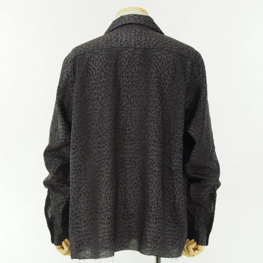 Needles - Cut Off Bottom Classic Shirt - Linen Cloth - Leopard Print - Grey