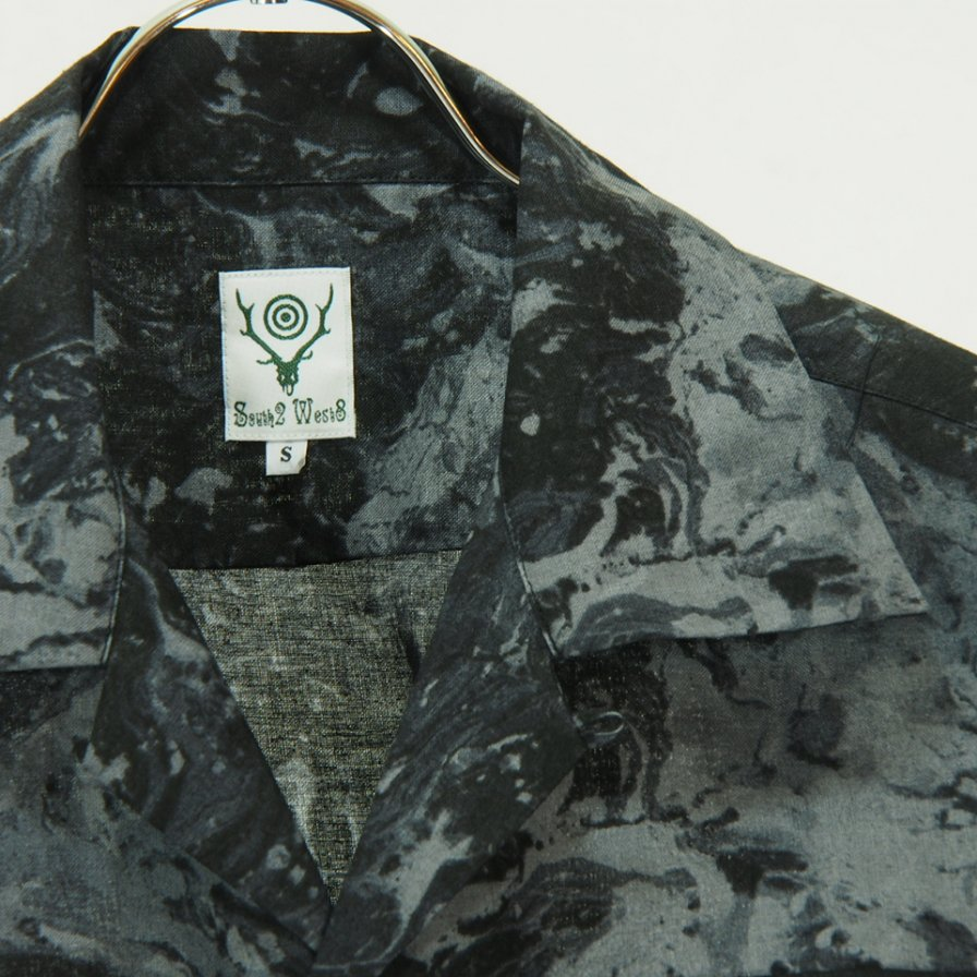 South2 West8 - 6 Pocket Classic Shirt - Linen Cloth / Marble - Grey