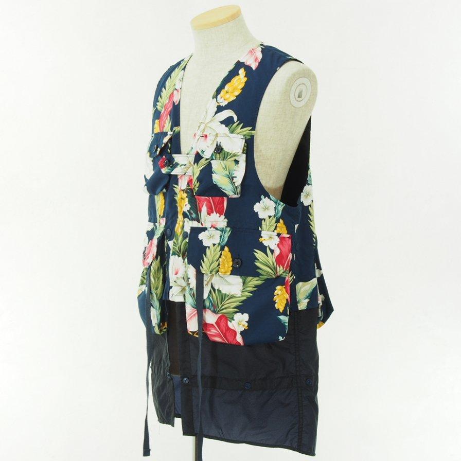 Engineered Garments - Game Vest - Hawaiian Floral Microfiber - Navy