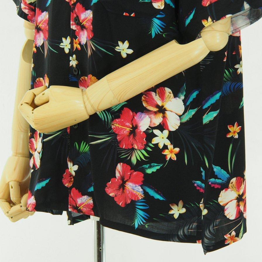 Engineered Garments - Camp Shirt - Tropical Floral Print Rayon - Black