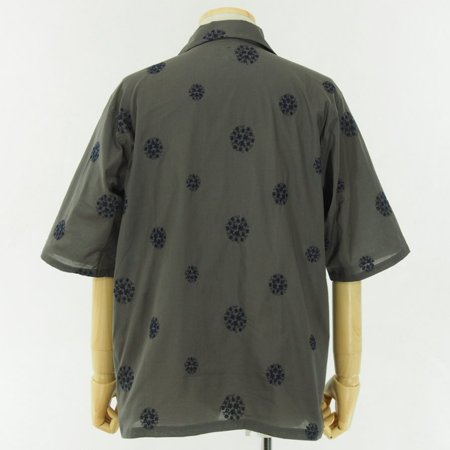 Needles - Cabana Shirt - Cotton Cloth / Flower Dot Emb. - Grey