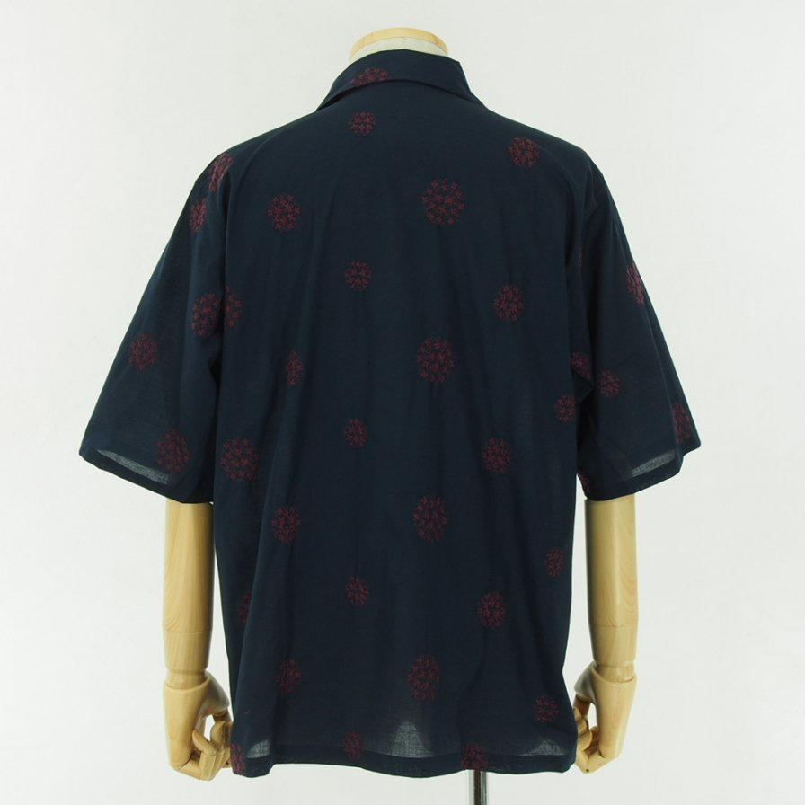 Needles - Cabana Shirt - Cotton Cloth / Flower Dot Emb. - Navy