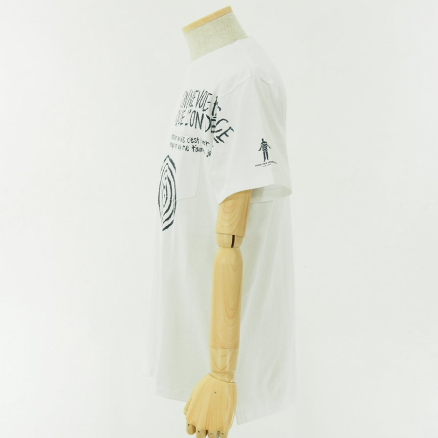 Engineered Garments - Printed Cross Crew Neck T shirt - Spiral - White
